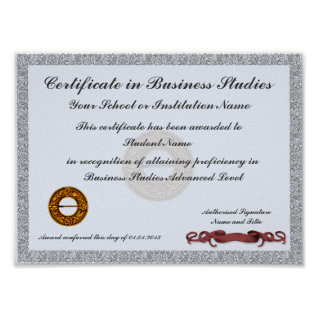 Certificate Of Subject Curriculum Award Poster at Zazzle