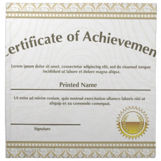 Certificate with golden seal cloth napkin