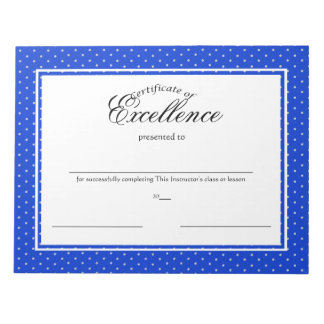 Certificates of Excellence Scratch Pads