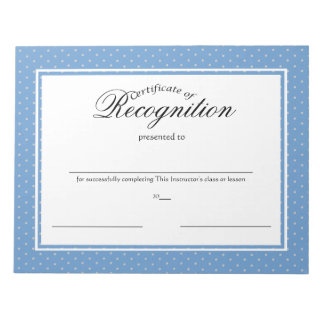Certificates of Recognition Memo Notepad