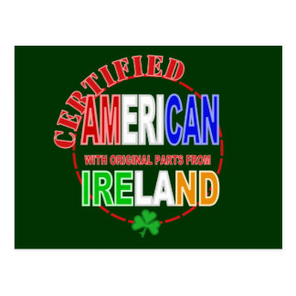 Certified American With Parts From Ireland Design Postcard