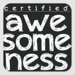 CERTIFIED AWESOMENESS SQUARE STICKER
