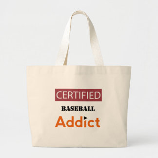 Certified Baseball Addict Large Tote Bag