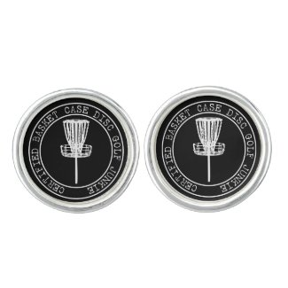 Certified Basket Case Disc Golf Junkie Cuff Links