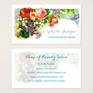 Certified Beautician Vintage Pink Rose Floral Business Card