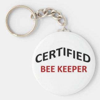 Certified Bee keeper Basic Round Button Keychain