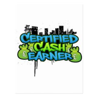 certified cash earner money stacks postcard