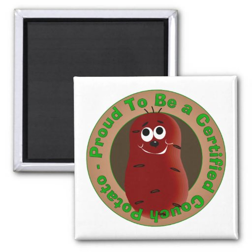 Certified Couch Potato 2 Inch Square Magnet