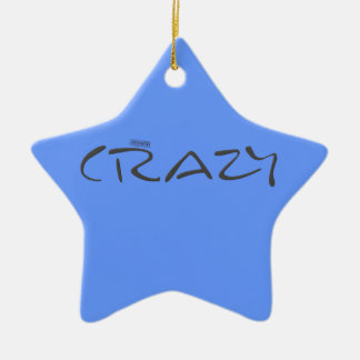 Certified Crazy Official Stamp Capital Letters Double-Sided Star Ceramic Christmas Ornament