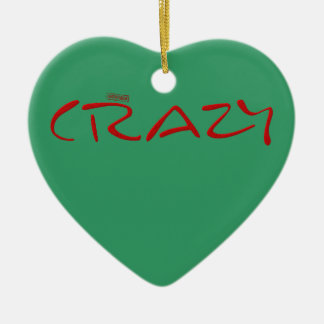 Certified Crazy Official Stamp Capital Letters Double-Sided Heart Ceramic Christmas Ornament