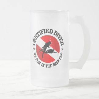 Certified Diver (Deep End) Frosted Glass Beer Mug
