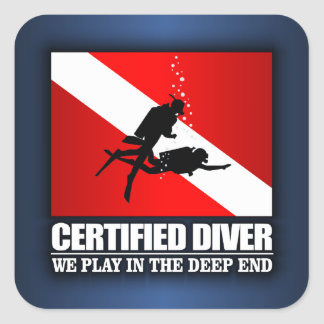 Certified Diver (Deep End) Square Sticker