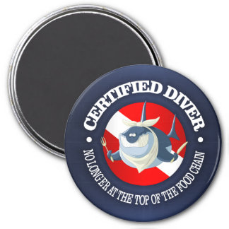Certified Diver (Food Chain) 3 Inch Round Magnet