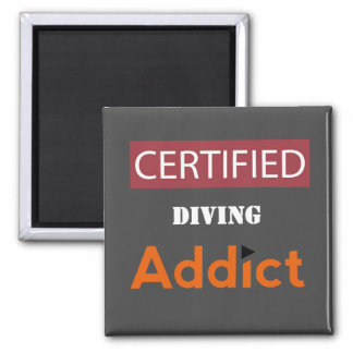 Certified Diving Addict 2 Inch Square Magnet