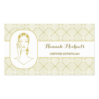 Certified Esthetician White Gold Woman Appointment Business Cards