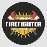 Certified Firefighter Classic Round Sticker