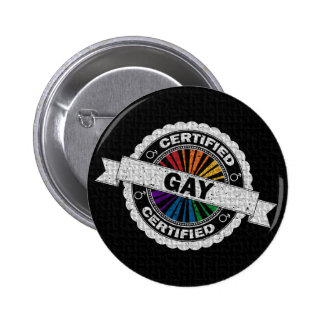 Certified Gay  Pride Stamp Button