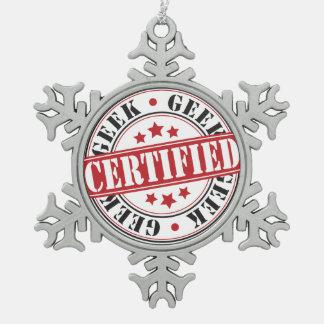 Certified Geek Snowflake Pewter Christmas Ornament