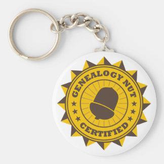 Certified Genealogy Nut Basic Round Button Keychain