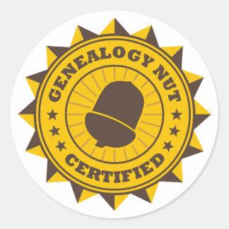 Certified Genealogy Nut Classic Round Sticker