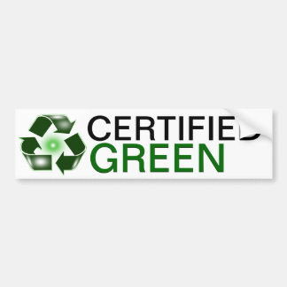 Certified Green Recycle Logo Bumper Sticker Car Bumper Sticker