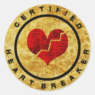 Certified Heartbreaker Classic Round Sticker