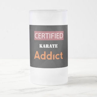 Certified Karate Addict Frosted Glass Beer Mug
