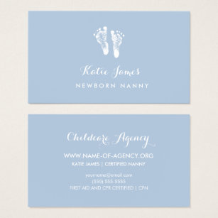 Caregiver business cards templates zazzle certified nanny simple newborn baby footprints business card reheart Gallery