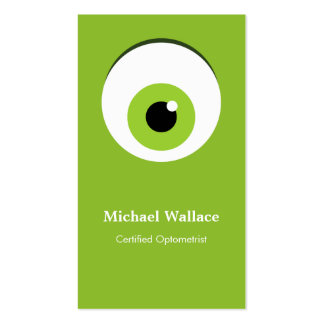 Certified Optometrist - Cute Big Green One Eye Double-Sided Standard Business Cards (Pack Of 100)