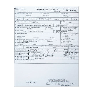 Certified Original Barack Obama Birth Certificate Canvas Print