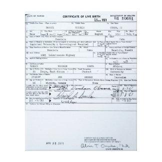 Certified Original Barack Obama Birth Certificate Canvas Print