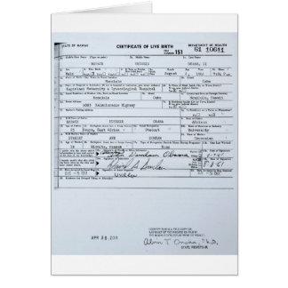 Certified Original Barack Obama Birth Certificate Greeting Cards