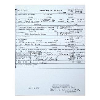 """Certified Original Barack Obama Birth Certificate 4.25"""" X 5.5"""" Invitation Card"""
