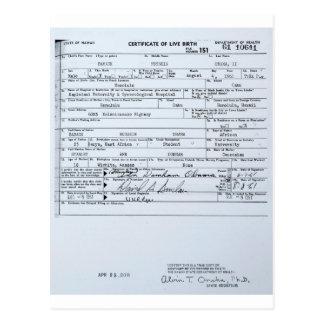 Certified Original Barack Obama Birth Certificate Postcard
