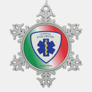 Certified Paramedic Custom Snowflake Pewter Christmas Ornament