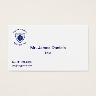 Certified Paramedic Star Of Life Shield Business Card