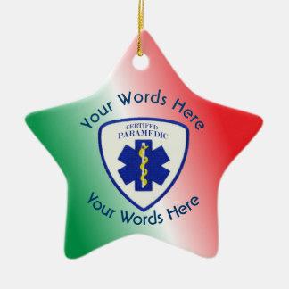 Certified Paramedic Star Of Life Shield Ceramic Star Ornament