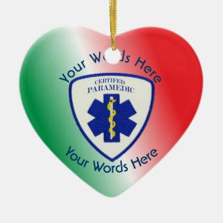 Certified Paramedic Star Of Life Shield Ceramic Heart Ornament
