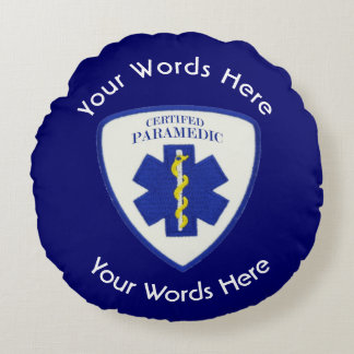 Certified Paramedic Star Of Life Shield Round Pillow