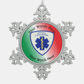 Certified Paramedic Star Of Life Shield Snowflake Pewter Christmas Ornament