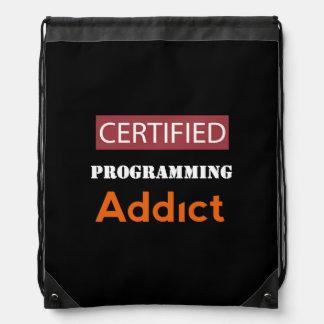 Certified Programming Addict Drawstring Bag