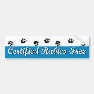 Certified Rabies-Free Bumper Sticker