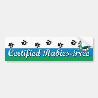 Certified Rabies-Free Kennel or Bumper Sticker