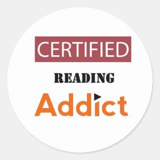 Certified Reading Addict Classic Round Sticker