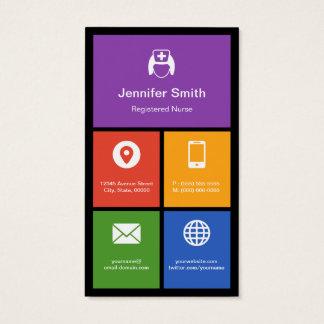 Certified Registered Nurse Colorful Tiles Creative Business Card