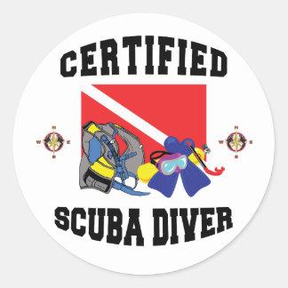 Certified SCUBA Diver Round Sticker