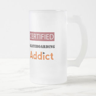 Certified Skateboarding Addict Frosted Glass Beer Mug