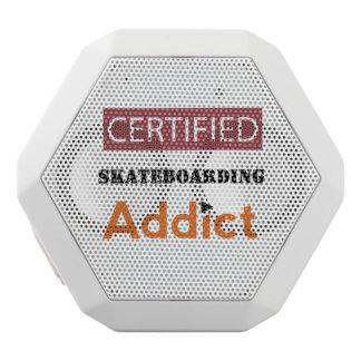 Certified Skateboarding Addict White Bluetooth Speaker