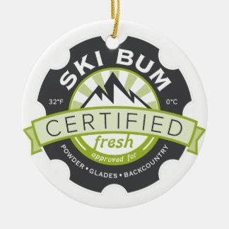 Certified Ski Bum Ceramic Ornament