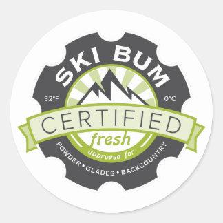Certified Ski Bum Classic Round Sticker